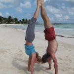 Dana Rae Paré and Trevor Monk in Handstand in Tulum, Mexico