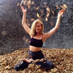 Dana Rae Paré in Padmasana among the leaves